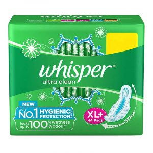 Whisper Ultra Clean Sanitary Pads XL With Wings, 44 N