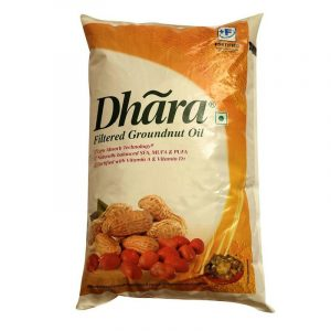 Dhara Groundnut Oil Pouch, 1 L