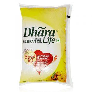 Dhara Ricebran Oil Pouch 1 L