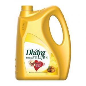 Dhara Ricebran Oil Jar, 5 L